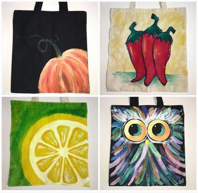 Painted totebags