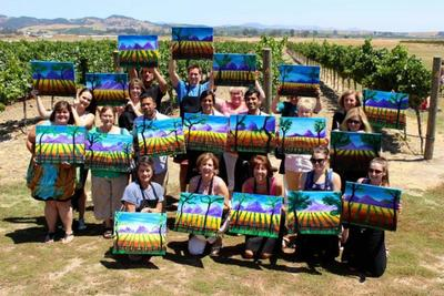 An on the go Paint and Sip event at a vinyard.