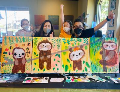 Sloth Family Painting